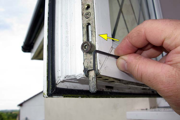 Jammed or Stuck uPVC Window - Insert the Opening Tool Next to the Shootbolt Roller (Demonstration with the window open)