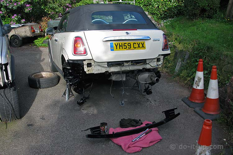 Mini - Rear Metal Bumper Bracket Removed (and Painted)