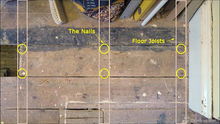 How to Lift up Your Floor Boards - Locating the Floor Joists by Looking for the Fixings