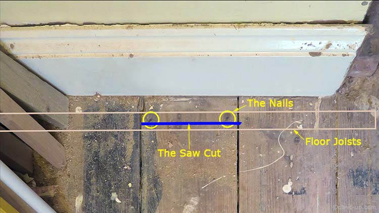 How to Lift up Your Floor Boards - The Saw Cut Just Missing the Nails (Above the Floor Joist)