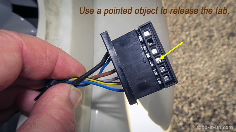 Connectors - Removing the Wires - Use a Pointed Object to Release the Tab