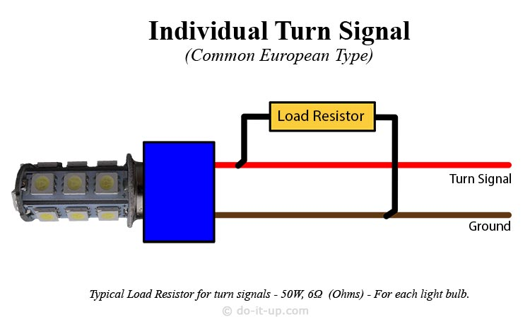 LED Turn Signal Load Resistor Wiring Diagram (Turn Signal Only)