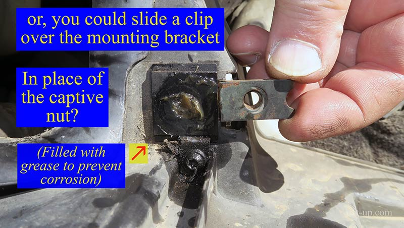 Repairing the Mini Headlight - Captive Nut Mounting Bracket with a U-Clip